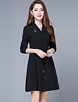 Women's Plus Size Simple A Line Dress,Polka Dot V Neck Above Knee Long Sleeve Red / Black Polyester Spring / Fall