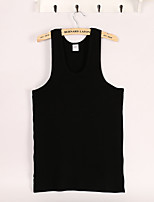 Men's Solid Casual Tank Tops,Cotton Sleeveless-Black