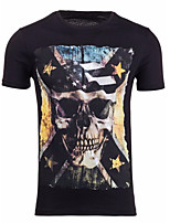 Effen-Informeel-Heren-Katoen-T-shirt-Korte mouw Zwart / Wit / Grijs