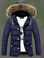 Men's Regular Padded Coat,Cotton / Polyester Solid Long Sleeve