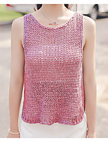 Women's Going out Street chic Regular Vest,Solid Pink / White Round Neck Sleeveless Cotton Spring Medium