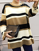 Women's Going out / Casual/Daily Simple Regular Pullover,Striped Yellow Round Neck Long Sleeve Cotton Fall Thin / Medium