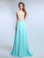 Formal Evening Dress A-line V-neck Sweep / Brush Train Chiffon with Beading / Pearl Detailing