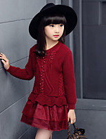 Girl's Going out Print Dress / Sweater & Cardigan,Others Spring / Fall Black / Pink / Red