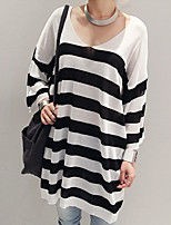 Women's Casual/Daily Street chic Long Pullover,Striped Black V Neck Long Sleeve Acrylic Fall Medium