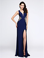 TS Couture® Formal Evening Dress Sheath / Column V-neck Sweep / Brush Train Jersey with Beading / Crystal Detailing / Split Front