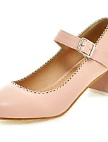 Women's Heels Summer / Fall Round Toe / Comfort PU Office & Career / Casual Chunky Heel Buckle Blue / Pink / White