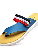 Herren-Sneaker-Outddor / Lässig-Leder-Flacher Absatz-Flache Schuhe-Schwarz / Blau / Weiß