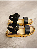 Girl's Sandals Spring / Summer Sandals PU Outdoor / Casual Flat Heel Magic Tape Black / White Others