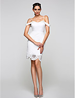 Cocktail Party / Homecoming Dress Sheath / Column Spaghetti Straps Knee-length Lace / Satin with Lace