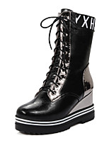 Women's Shoes Winter Combat Boots / Round Toe Boots Dress / Casual Wedge Heel Lace-up Black / Red / Beige / Champagne