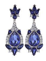 Fashion 2016 Luxury Water Drop Long Earrings Silver Plated Austria Blue Crystal Dangle Earrings For Women Jewelry brinco