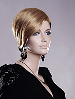 Black Blonde Mixed Color Short Straight Wigs Capless Synthetic Wigs For Women