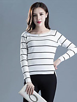 Women's Casual/Daily Street chic Regular Pullover,Striped  Round Neck Long Sleeve Cotton Spring / Fall Medium