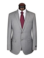 Suits Slim Fit Notch Single Breasted Two-buttons Wool Solid 2 Pieces Gray Straight Flapped