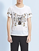 Men's Print Casual T-ShirtPolyester Short Sleeve-White