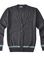 Men's Solid Casual Cardigan,Wool / Acrylic Long Sleeve Green / Gray