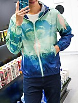 Men's Long Sleeve Casual Jacket,Nylon Print Blue