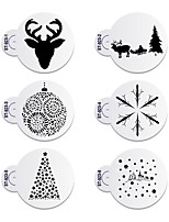 6pcs/lots Merry Christmas Deer Decorative Cookies Stencil Plastic Stencil for Coffee ST-923