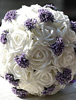 Pure White and Purple All over The Sky Star Bride Holding Flowers