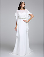 Lanting Bride® Sheath / Column Wedding Dress Chapel Train Bateau Chiffon with Beading