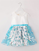 Girl's Casual/Daily Print Dress,Polyester Summer / Spring Blue