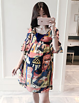 Maternity Casual/Daily Sexy Loose Dress,Print V Neck Above Knee Short Sleeve Orange Polyester Summer