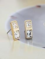 Women Alloy Golden Geometric Stud Earrings