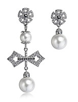 Earring Cross Drop Earrings Jewelry Women Fashion Daily / Casual Zircon / Copper 1 pair Silver