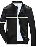 Men's Long Sleeve Casual / Sport Jacket,PU / Cotton / Rayon / Polyester Striped / Solid Black / Brown / Yellow