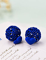 Earring Round Jewelry 1 pair Fashionable Alloy Black / Red / Blue Daily / Casual