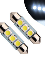 10pcs 41mm 3 SMD 5050 Festoon Licence Plate Dome Interior Light Festoon Auto Led Lamp Car LED Bulb Parking(DC12V)