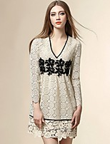 Boutique S Women's Going out Street chic Lace Dress,Jacquard V Neck Above Knee Long Sleeve Beige Polyester Summer