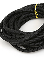Beadia 5mm Round Black Braided PU Leather Cord Rope String (4Mts)