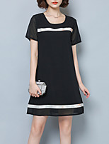 Women's Plus Size / Casual/Daily Simple / Street chic A Line Dress,Patchwork Round Neck Above Knee Short Sleeve Black