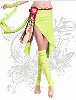 Danza del ventre Pantaloni Per donna Da esibizione Chinlon Plissettato 1 pezzo Fucsia / Verde / Leopardata Danza del ventre Senza maniche