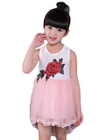 Girl's Casual/Daily Embroidered Dress,Polyester Pink