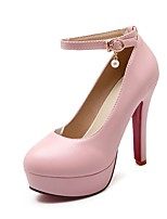 Women's Heels Summer / Fall Heels / Round Toe PU Office & Career / Casual Cone Heel Buckle Black / Pink / Beige Others