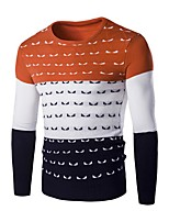 Herren Pullover-Patchwork Freizeit Wolle Lang Orange / Rot