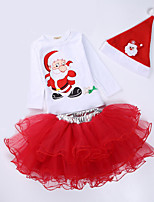 Girl's Party/Cocktail Polka Dot Chirstmas Dress / Clothing Set,Cotton / Polyester All Seasons Red