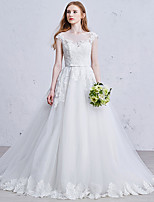 Princess Wedding Dress Court Train Square Tulle with Sequin / Appliques / Bow / Lace / Pearl / Sash / Ribbon
