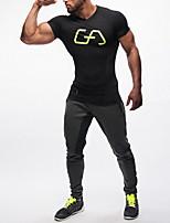 Carrera Tops Hombres Mangas cortas Cómodo / Filtro Solar Algodón / Chinlon Running Deportes Ropa deportiva Eslático DelgadoRopa de