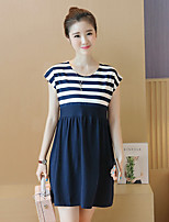 Maternity Going out Simple Loose Dress,Striped Round Neck Above Knee Short Sleeve Blue / Black Cotton / Polyester Summer