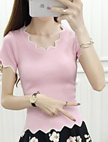 Women's Going out Simple Regular Pullover,Solid Pink / White Asymmetrical Short Sleeve Cotton Summer Medium