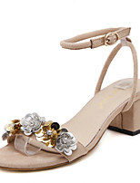 Women's Sandals Stecy Open Toe Fleece Platform Shoes Sequin Buckle Chunky Heels Black and Almond Colors Available