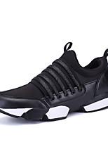 Herren-Sneaker-Outddor / Büro / Lässig / Sportlich-Baumwolle-Flacher Absatz-Rundeschuh / Flache Schuhe-Schwarz / Weiß