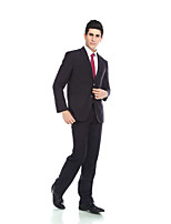 Tuxedos Tailored Fit Notch Single Breasted Two-buttons Viscose / Wool & Polyester Blended Solid 2 Pieces Dark Blue