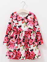 Girl's Cotton Spring/Autumn Flower Dress Cute Long Sleeve Princess Dress