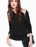 Women's Casual/Daily Simple Summer / Fall T-shirt,Solid Asymmetrical Long Sleeve Black / Gray Polyester Opaque