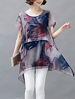Women's Plus Size / Going out /  Simple Chiffon Dress,Print Round Neck Midi Short Sleeve Red Polyester Summer